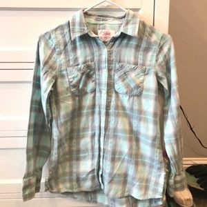 Justice Button-Down Flannel Turquoise and Grey